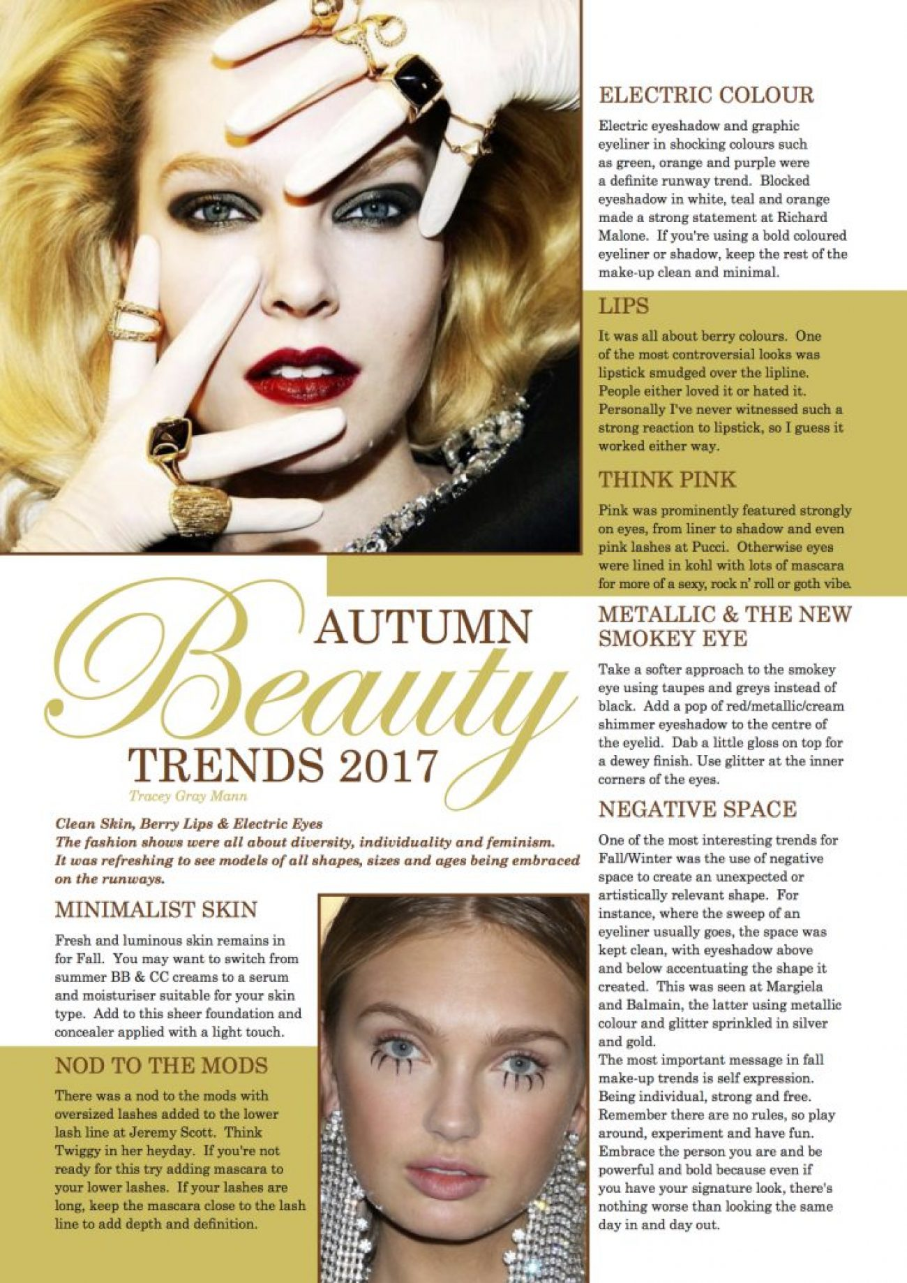 Fall Beauty Trends 2017 written by Tracey Gray Mann